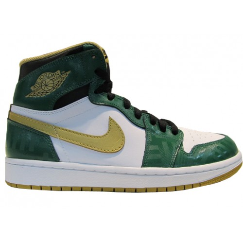 555088-315 Air Jordan 1 Retro High Boston Garden OG Clover Metallic Gold-White-Black