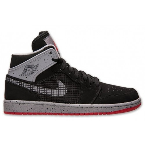 599873-003 Air Jordan 1 Retro 89 Black Fire Red-Cement Grey