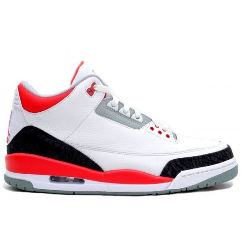 136064-120 Air Jordan Retro 3 White Fire Red-Neutral Grey-Black