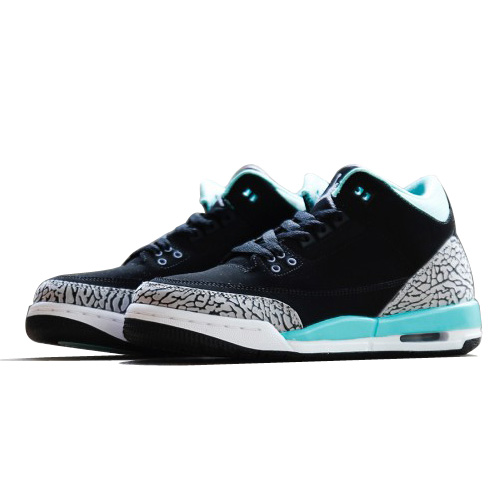 Authentic 441140-045 Air Jordan 3 Retro Girl's Black/Iron Purple-Bleached Turquoise-Wolf Grey
