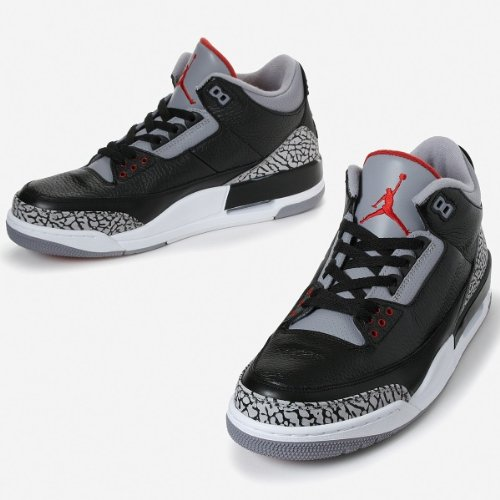 136064-010 Air Jordan Retro 3 Black Cement Grey A03003