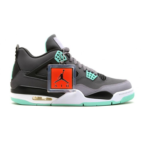 308497-033 Air Jordan 4 Retro Dark Grey/Green Glow-Cement Grey-Black (Women Men Gs Girls) For Sale