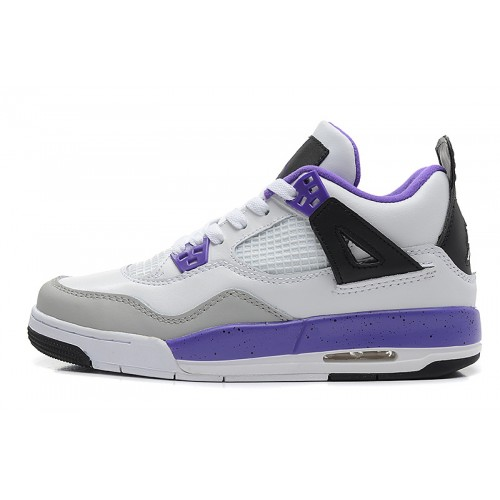 487724-108 Air Jordan IV 4 Retro Womens Purple White Black Shoes