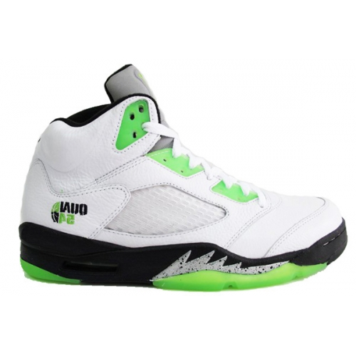 467827-105 Air Jordan 5 (V) Retro Quai 54 White Black Metallic Silver Radiant Green A05011