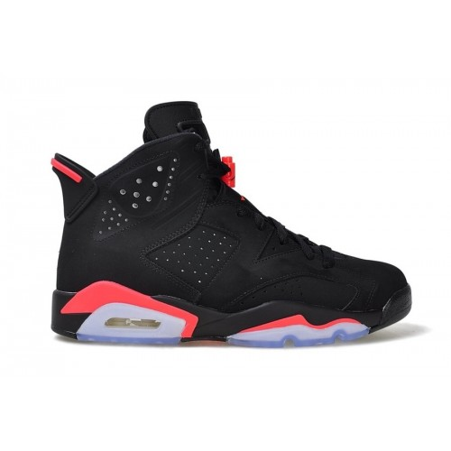 Authentic 384664-023 Air Jordan 6 Retro Black/Infrared 23-Black Grade School's Shoe