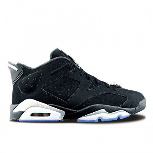 Authentic 304401-003 Air Jordan 6 Retro Low Black/Metallic Silver-White