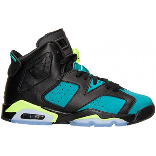 543390-043 Air Jordan 6 Retro Black/Volt Ice-Turbo Green-Black (Women GS Girls) 2014