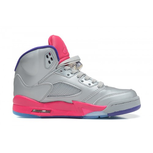 440892-009 Air Jordan 5 Retro Cement Grey Pink Flash-Raspberry Red-Electric Purple Women