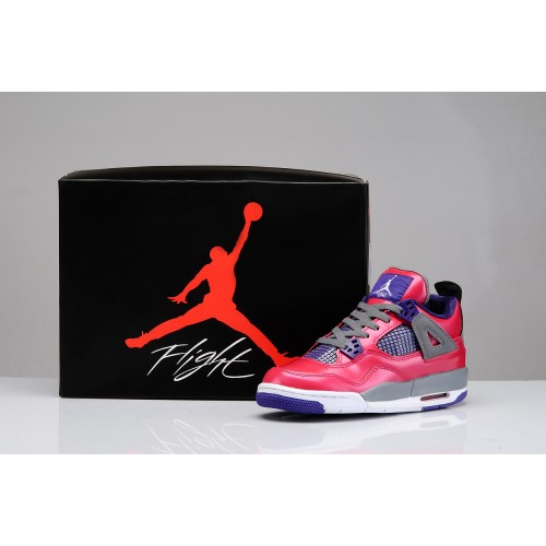 487724-018 Girls Air Jordan Retro 4 (PS) Pink Purple Grey