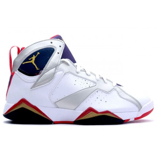 304775-135 Air Jordan 7 (VII) Olympic 2012 White Metallic Gold Obsidian True Red (Women Gs Girls)